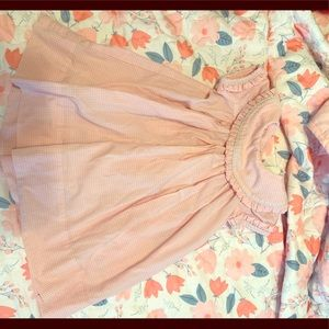 Smocked material girls pink and blue dress